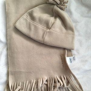 Fleece beige tan winter hat pompon and scarf set